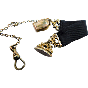 Antique J.F.S.S. Gold Fill Plate Gilt Watch Fob Chain Clip Clasp Mourning Grosgrain Black Ribbon Victorian 4inch
