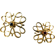 Vintage Set of 2 Avon President's Club Awards 10K Gold Over Sterling Genuine Sapphire & Ruby Brooch Pins