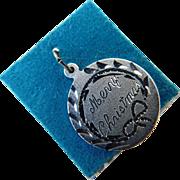Vintage Merry Christmas Sterling Silver Signed Charm Bracelet Charm or Pendant Still on Original Card