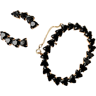 Vintage Black Crystal Triangular Glass Bracelet & Clip On Earring Set in Gold Tone Possibly Plated
