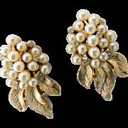 Vintage Crown Trifari Faux Pearl Clusters & Ice Crystal Rhinestones Brushed Gold Clip On Earrings