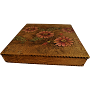 Antique Edwardian Pyrography Box Flemish Art Hand Decorated Wood Handkerchief or Dresser Box Painted Chrysanthemums Flowers