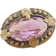 Antique Victorian to Art Nouveau Facetted Amethyst Glass Leaf Brooch c-clasp