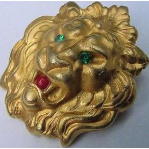 Vintage Roaring Lion Brooch Pin Rhinestones Unsigned Designer Treasure