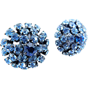Rhinestone Crystal Baby Blue & Sapphire Blue MADE IN AUSTRIA Domed Clip On Earrings