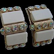 Showy LERU Signed Thermoset Plastic Aurora Borealis AB Crystal Vintage Rhinestone Earrings Clip Ons
