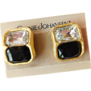 Ginnie Johansen GJD Black & White Ice Crystal Rhinestone Earrings Chunky Clip Ons on Card