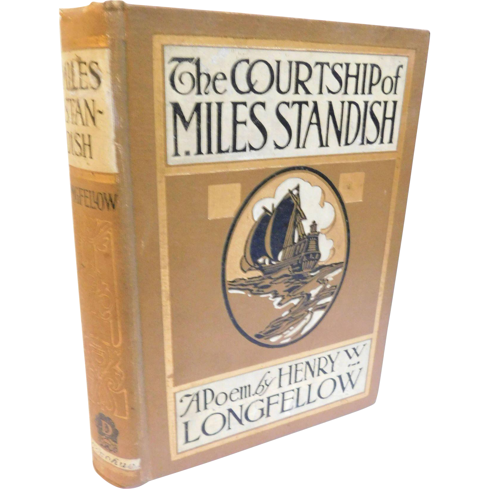 Antique The Courtship of Miles Standish & Other Poems by Henry Longfellow Poem Poetry Pilgrims Plymouth Illustrated Book Decorative Cover