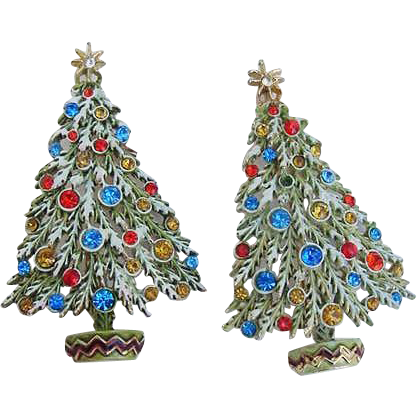 BG147 ART Signed Pair of Christmas Tree Rhinestone Enamel Brooch Pin Vintage Set