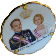 Limoges France Miniature Portrait Plate Princess Grace of Monaco Prince Rainier Display Dollhouse Doll