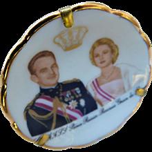 Limoges France Miniature Portrait Plate Princess Grace of Monaco Prince Rainier Display Dollhouse Doll