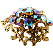 Gaudy Carnival Glass Fall Colors Aurora Borealis AB Crystal Brooch Ornate Swirls Pin Vintage VIVID