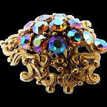 Gaudy Carnival Glass Fall Colors Aurora Borealis AB Crystal Brooch Ornate Swirls Pin Vintage VIVID