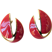 Trifari Bright Tomato Red Enamel & Shiny Gold Tone Pierced Post Earrings