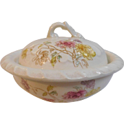Antique Butter Cheese Covered Dish 3pc set with Strainer Drainer Charming Hand Painted Flowers