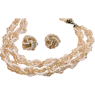 Vintage HOBE Signed Necklace & Earrings Set Demi Parure Clip Ons Iridescent Crystal with White Milk Glass Beads 8 Strands Woven