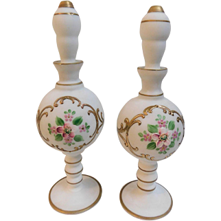 Vintage West Germany Satin Glass White Hand Painted Flowers Perfume Bottles or Barber Tall 9inch