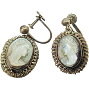 BG222 Vintage BC 800 Silver not quite Sterling Carved Shell Mother of Pearl Grecian Lady Cameo Dangle Drop Earrings Screwback