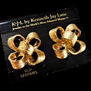 Kenneth Jay Lane KJL Clip On Bowtie Ribbon Bow 3D Large 1.30inch Bold Earrings Gold On Card
