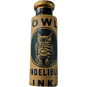 Antique Owl Indelible Ink Stamp Pen Miniature 1.75 inch Advertising Bottle Paper Label Black Glass with Pontil & Cork Stopper Rare