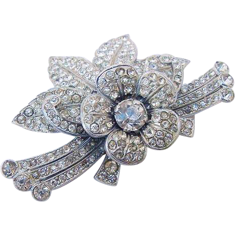 BG53 ART DECO Rhodium Plated Pot Metal Layered Flower Brooch Pin Signed Heart in Shield Designer Ice Clear Rhinestones Vintage