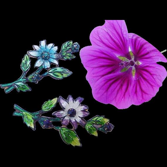 BG134 Antique Edwardian to Art Nouveau Enamel Rhinestone Brooch Pin Set Flowers Purple & Blue