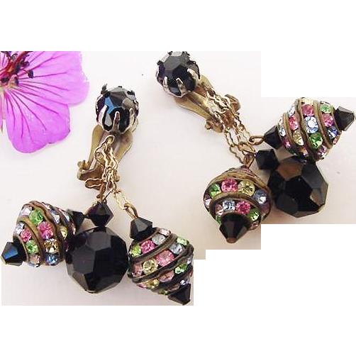 BG73 Stunning Black Crystal & Pastel Rhinestone Rondelles Vintage Dangle Earrings Clips
