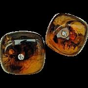 BG276 Transparent Lucite Apple Juice Swirl Rhinestone Domed Clip On Earrings Vintage