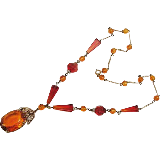 BG288BG688 Art Deco Czech Amber Topaz Glass Crystal Necklace Marcasites Silver Gilt over Brass Most Likely Czech Czechoslovakia Vintage