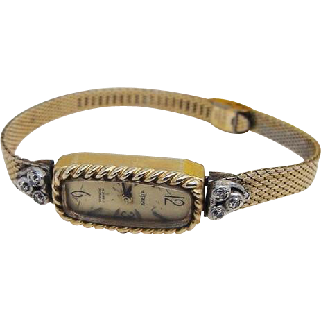 BG11 Vintage Lucien Piccard Villereuse Incabloc 14K Yellow Gold Bezel 6 Diamonds Watch Ladies with Duchess Gold Fill Band