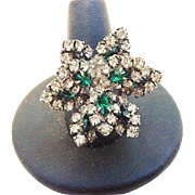 BG119 Layered Flower Emerald Green & Diamond Clear Ice Crystal Rhinestone Ring Adjustable Cocktail Costume Vintage