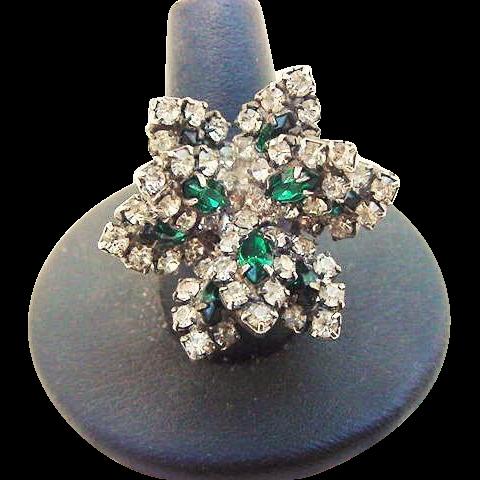 BG119 Layered Flower Emerald Green & Diamond Clear Ice Crystal Rhinestone Ring Adjustable Cocktail Costume Vintage