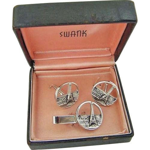 BG139 Vintage Swank Eiffel Tower Buildings Paris France Cuff links & Tie Clasp Clip in Original Presentation Box