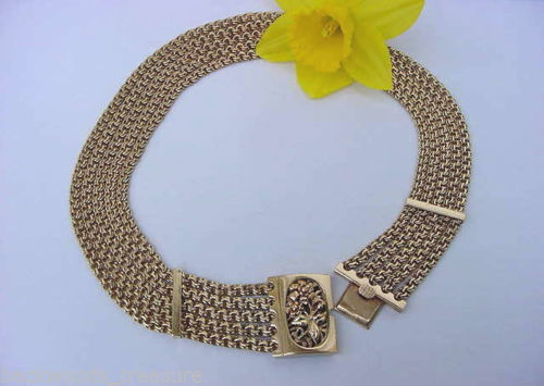 Vintage Fine Solid Gold 14K Plumb 153.3 gram Heavy Bib Necklace Multi Chain Choker Ornate Floral Clasp