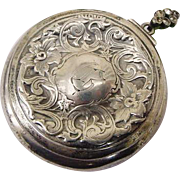 BG17 Victorian Repousse Flowers Sterling Silver Marcasites Chatelaine Mirror Compact Purse Antique