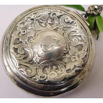 BG17 Victorian Repousse Flowers Sterling Silver Marcasites Chatelaine Mirror Compact Purse Antique