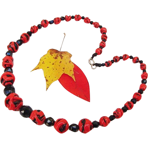 BG87 Art Deco Bright Tomato Red & Black Art Glass Hand Applied with black Crystal Graduated Beads Necklace Choker Italian Murano Czech