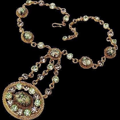 BG59 Art Deco Festoon Easter Egg Gold Foil Austria Crystal Blues Aqua Green Gold Gilt Drop Medallion Filigree Necklace Vintage