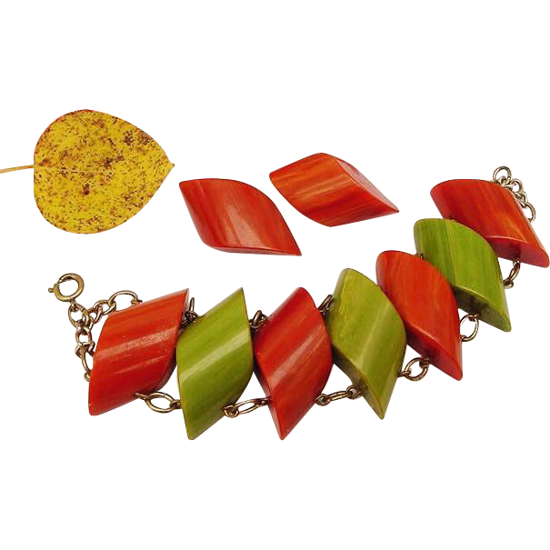 BG22 Chunky Tested Bakelite Early Plastic Marbled Green & Rust Orange Bracelet & Clip Earrings Set Vintage