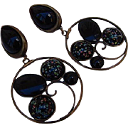 BG21 Vintage RUNWAY Couture art glass Millefiori Venetian Glass 3.80 inches HUGE Clip Dangle Earrings