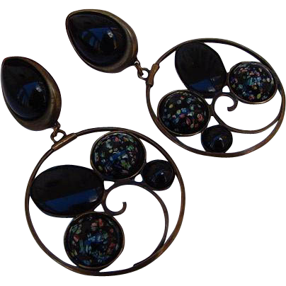 BG21 Vintage RUNWAY Couture art glass Millefiori Venetian Glass 3.80 inches HUGE Clip Dangle Earrings