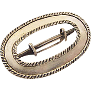 BG41 Victorian to Edwardian R.M.C. Signed Sterling Silver 3 Inch Belt Sash Buckle