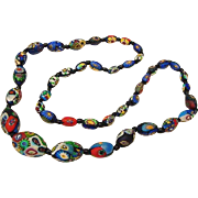 BG10 Art Deco Italian Millefiori Glass Venetian Necklace Cane Graduated Beads 1.05inch to .45inch Matte Finish Wild Colors with Black