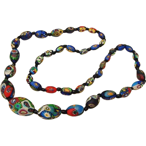BG10 Antique Italian Millefiori Glass Venetian Necklace Cane Graduated Beads 1.05inch to .45inch Matte Finish Wild Colors with Black