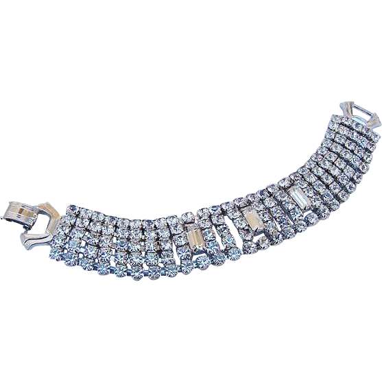 BG78 Designer WEISS 5 Row Strand Wide Bracelet ICE clear Rhinestones Rounds & Emerald Cuts Vintage