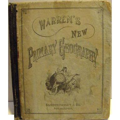Victorian 1880 Book Warren's New Primary Geography Antique Maps Illustrations School book Primer
