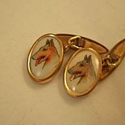 Pair of vintage cufflinks - English - Dogs