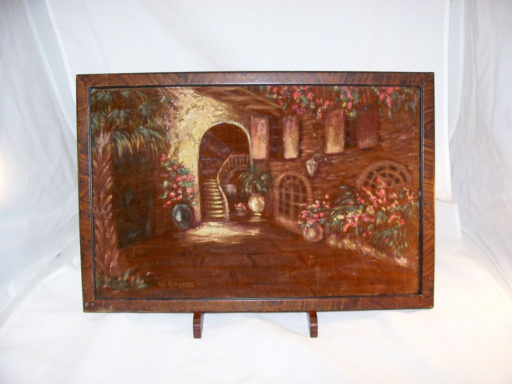 Vintage Painting of New Orleans French Quarter Patio, signed and dated 1933