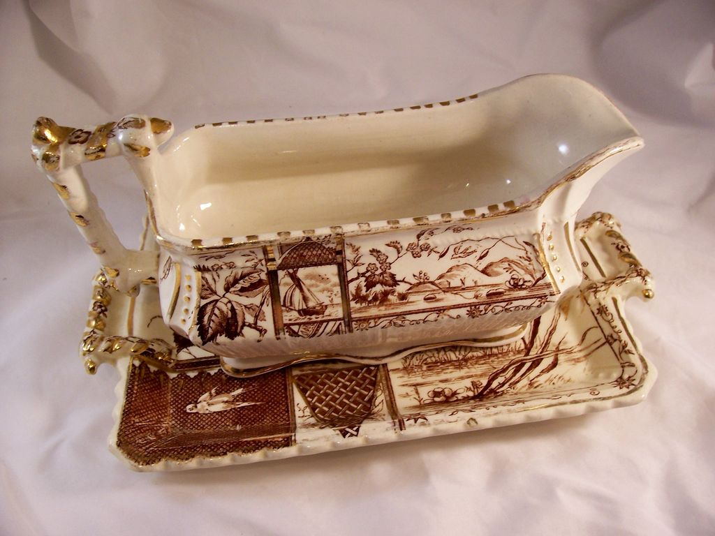 Victorian Aesthetic Brown Transferware Sauceboat & Underplate - Osborne pattern