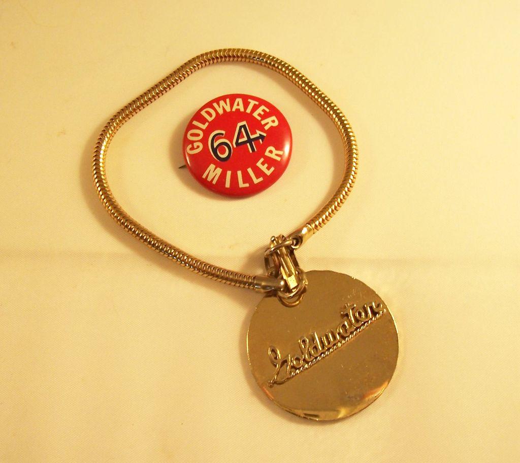 Vintage 1964 GOLDWATER political Bracelet & Campaign Pinback